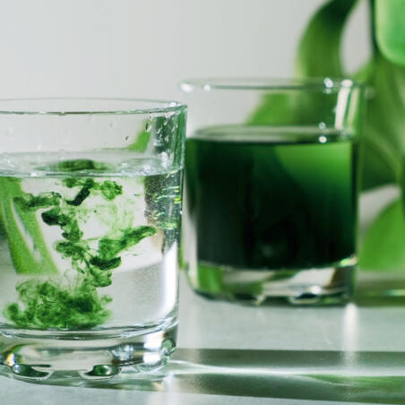 Chlorophyll water drops